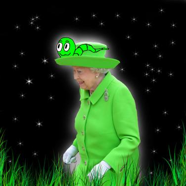 La reine de l'Angleterre avec Walter le vers, un personnage dans le livre pour enfant pour apprendre l'anglais qui s'intitule JoJo l'escargot m'apprend l'anglais.