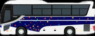 プルバックカー 貯金箱 Jバス型 側面