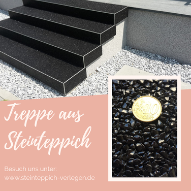 Steinteppich Treppe aus schwarzen Marmor Steinen