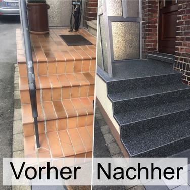 Treppe Neu Verkleiden Mit Steinteppich Fugenloser Boden Steinteppich