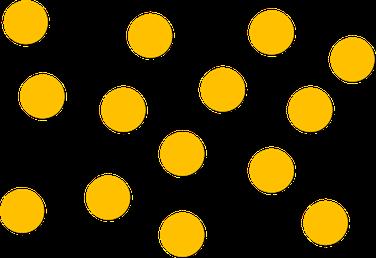 Teilchenmodell eines Gases bzw. des gasförmigen Aggregatszustandes.