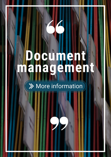Image of files and folders with the text document management