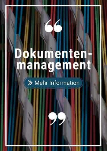 Bild von Akten und Foldern mit dem Text Dokumentenmanagement