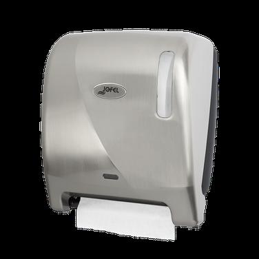 """Despachador  de toalla en rollo automático AG26011 Color: Blanco con Níquel Barniz. Dimensiones en milímetros: Alto: 355 Largo: 310 Ancho: 235 Requiere 4 pilas alcalinas de 1.5 V tamaño D Capacidad: 1 rollo de 8"""" / 20.3 cm Contenido por caja: 1 pieza"""