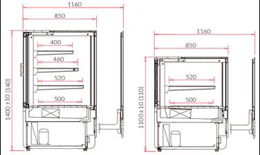 Dimensions vitrines innova