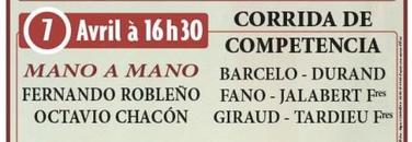 Toros de Barcelo Durand Fano Jalabert Giraud et Tardieu pour Fernando Robleño et Octavio Chacon
