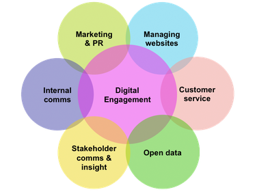 Digital Engagement, Internal comms, Marketing & PR, Managing Websites, Customer Service, Stakeholder comms & insight, Open data