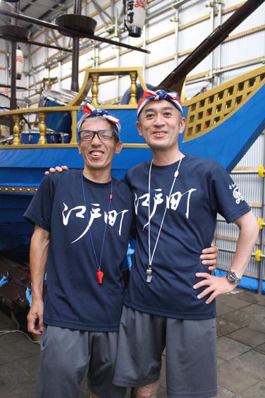 長采の川添浩司さん(右)と添根曳の三瀬健司さん。絶妙なコンビ!