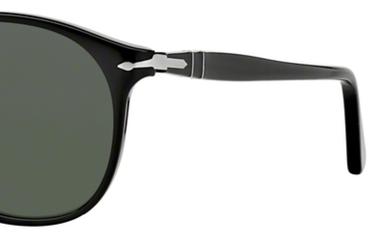 Occhiali da sole uomo Persol Modello: 9649S. Colore: 95/31 nero. Colore lenti: verde. Calibro 52-18, 55-18. Forma: Pilot. Materiale: plastica. Protezione UV 100%