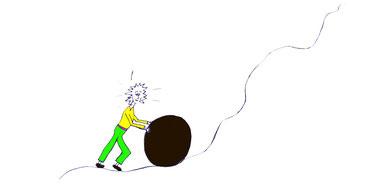 Männchen, das wie Sisiphus eine große Felskugel einen steilen Hang emporrollt