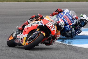 Captain America - Marc Marquez - rast vor Jorge Lorenzo ins Ziel bei der MotoGP in Indianapolis