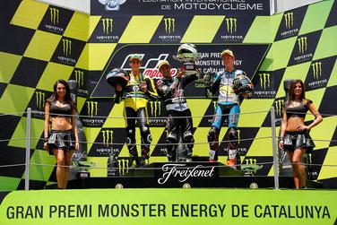Das Moto2 Podium in Barcelona mit Alex Rins, Johann Zarco und Tito Rabat.