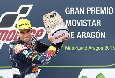 Kein Fahrer freut sich bei Siegen auf dem Podium so intensiv und schön wie er: Moto3 Pilot Miguel Oliveira