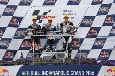 Das Podium der Moto3 in Indianapolis: John McPhee, Livio Loi, Philipp Oettl