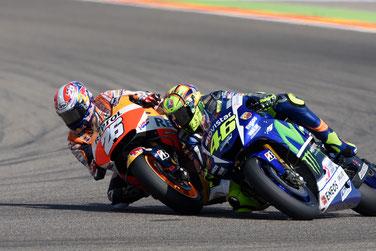 Harter Kampf um Platz zwei: Dani Pedrosa und Valentino Rossi