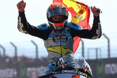 Der Jubel kannte keine Grenzen. Tito Rabat nach seinem Moto2 Sieg in Aragon