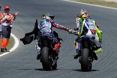 In Barcelona nicht zu stoppen: Die Movistar Yamaha mit Jorge Lorenzo und Valentino Rossi