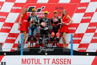 Das Podium in der Moto2 in Assen: Tito Rabat, Johann Zarco und Sam Lowes