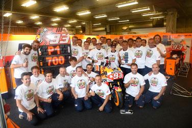 Die Honda Truppe hat Grund zum jubeln über den 700. Sieg in der MotoGP