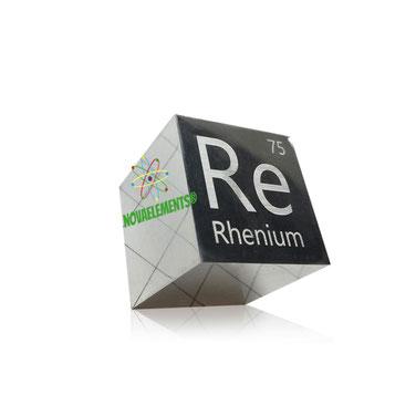 rhenium metal, rhenium bar, rhenium ingot, rhenium metal sample for element collection, rhenium acrylic cube, rhenium cube, rhenium cylinder.