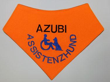 Azubi, Halstuch, Neongelb, Assistenzhund, leuchtorange, Rollstuhl