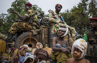 Repubblica Centrafricana. Carro di sfollati