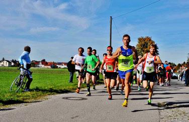 Kurz nach dem Start zum Gina-Lauf in Jengen: Steffen (39), Sieger Tobias Seitz (105), und Michael Laur (28) (Foto: Nicole C. Becker)
