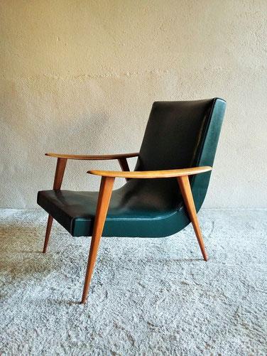 Fauteuil skaï scandinave vintage