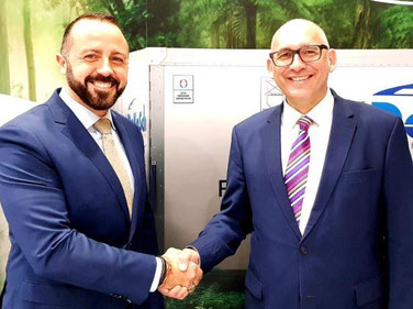Delighted with their deal are Etihad Cargo Manager Pharmaceuticals Miguel Rodriguez (left) and DoKaSch CEO Andreas Seitz