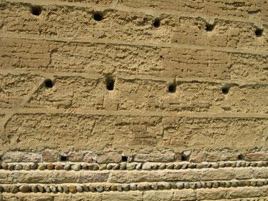Mur en pisé typhique d'une ferme bressane