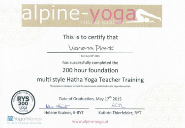 200hHatha Yoga Ausbildung, Abschluss 2015