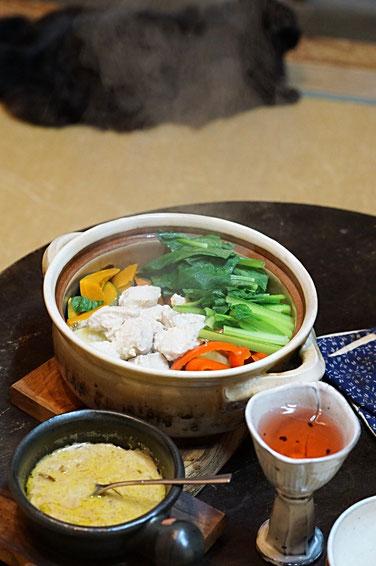 仲本律子 R工房 女性陶芸家 ブログ 土鍋 料理 蒸し野菜 タレ