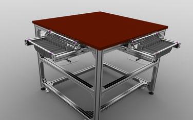 Tisch für Bestückungsmaschine mit Rollen Haltern.
