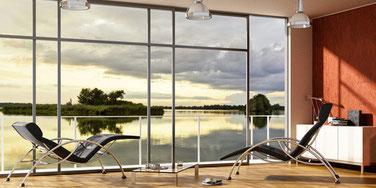 Wohnraum mit Sonnenschutzglas