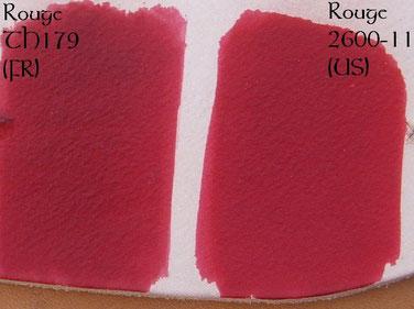 Comparatif des teintures rouges