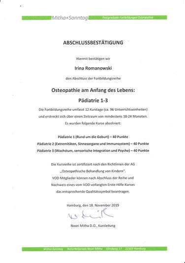 15.10.2018 bis 18.11.2019 Fortbildung Osteopathie am Anfang des Lebens Pädiatrie 1-3. Kursleitung Noori Mitha D.O.