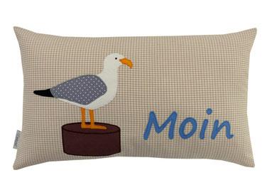 """Kissen 50x30 cm Möwe """"Moin"""""""