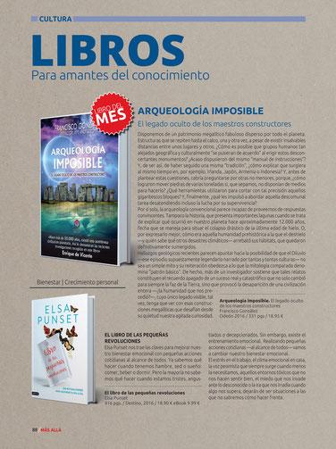 Arqueología Imposible, libro del mes en la revista Mas allá Abril, 2016
