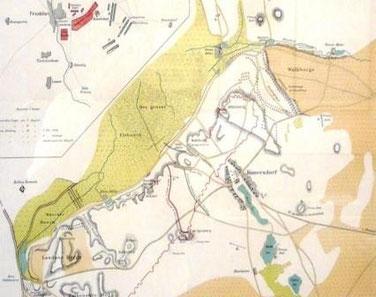 Grafische Darstellung des Schlachtfeldes von Kunersdorf