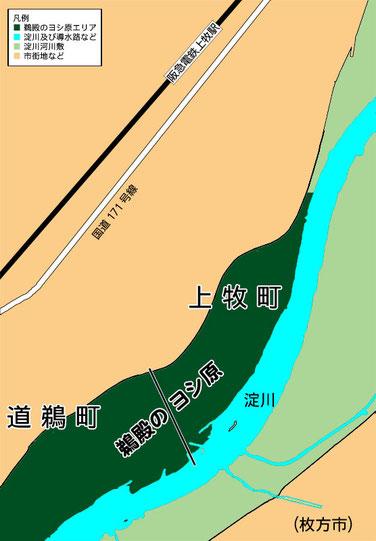 鵜殿のヨシ原の位置関係