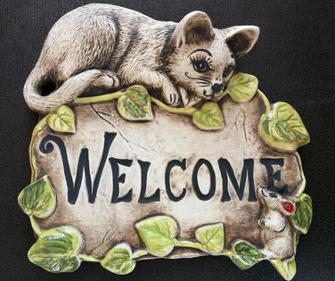 Schild mit Katze und Maus, Welcome, 39,-  19/18cm