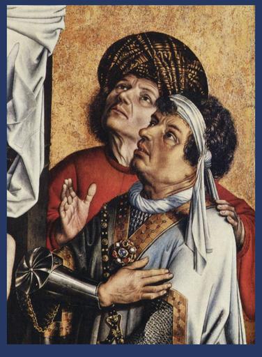 Detail van het nog resterende rechterluik van de triptiek 'De Kruisafneming' van Robert Campin (ca. 1420-1440). Publiek Domein via Wikimedia Commons.