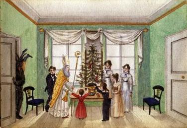 """Die älteste Darstellung eines Weihnachtsbaum in Österreich befindet sich im """"Illustrierten Erinnerungsbüchlein für die Wiener Kaufmannsfamilie Carl Baumann, 1820"""" (Wien Museum)."""