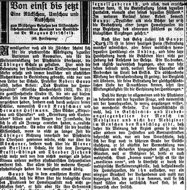 """Hirschfelds Offerte an die """"Tübinger Schule"""" um Robert Gaupp   1922 (Die Freundschaft, Jg. 4, Nr. 48, 1922, o. S.)."""