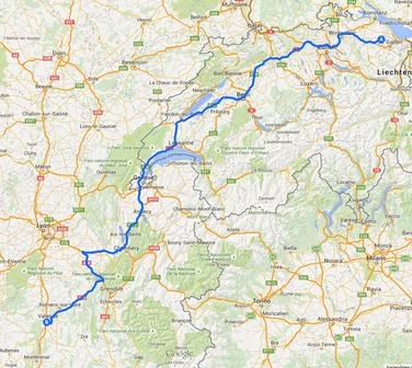 1. Fahrstrecke von Hauptwil nach Valence 599 Kilometer