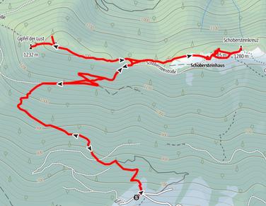 Routenverlauf vom Parkplatz Schobersteinhaus auf den Gipfel der Lust, den Koglerstein und den Schoberstein