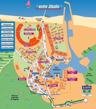Plan du Village Naturiste du Cap d'Agde