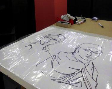 Portrait, Zeichnung auf Plastikfolie
