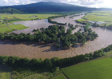 石狩川本川の氾濫による農地の浸水(平成28年8月23日。深川市納内町)