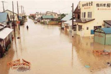 水浸しの石狩市親船(北海道開発協会蔵)